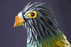 "French mixed media artist duo Zim & Zou created this ""Leather Parrot"" made of Hermès leather scraps."