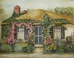photos of flower covered cottages | ... Original Painting Ivy Covered Thatch Cottage Flower Garden English