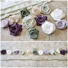 DIY Fabric Flower Garland - A Wonderful Thought Easy Fabric Flowers, Cloth Flowers, Burlap Flowers, Paper Flowers Diy, Flower Garlands, Felt Flowers, Flower Crafts, Crochet Flowers, Shabby Fabrics