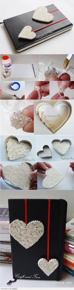 DIY paper hearts. I've never seen this type of heart DIY before! Sweet!