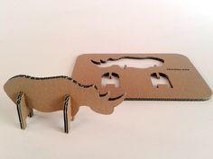 Nosorozec z tektury - 1, Zabawki, karton, tektura, zwierzaki, cardboard, toys, dzieci, kids; #toys #cardboard #animal #zkartonu #zabawki #dziecko