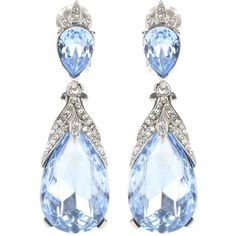 Oscar de la Renta Crystal-Embellished Clip-on Earrings ($465) ❤ liked on Polyvore featuring jewelry, earrings, blue, blue earrings, oscar de la renta, blue clip on earrings, blue jewelry and clip earrings