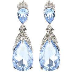 Oscar de la Renta Crystal-Embellished Clip-on Earrings ($465) ❤ liked on Polyvore featuring jewelry, earrings, blue, blue earrings, oscar de la renta, blue clip on earrings, blue jewelry and clip earrings