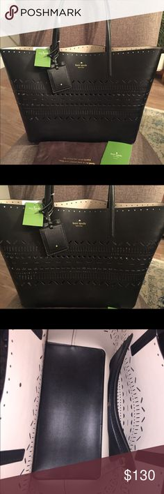 """NWT Kate Spade Black Harmony Lillian Court Authentic NWT Kate Spade Black Medium Harmony Lillian Court Shoulder Bag  Color outside: Black  Color inside: cream and black Original: $298 Dust Bag and Care Card included  Dimensions: 13"""" (length bottom), 18"""" (length top), 11"""" (height), 6.5"""" (width)  Note: The picture with a woman carrying the Tote is not my purse. It just helps show size kate spade Bags Shoulder Bags"""