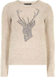 Natural embellished stag jumper