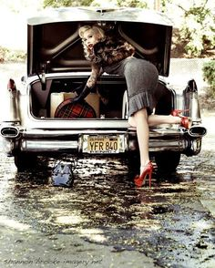 Photo » Dark Pinup Girls .... I WILL do this , I LUV old cars and the pin-up girl look!!