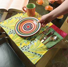 Easy enough to start and finish at a quilting party: Easy Pocket Place Mats by Cassie Barden.