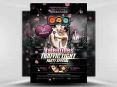 """In recent years """"Traffic Light Parties"""" have become a thing for nightclubs on Valentine's Day. Red for taken, Yellow for maybe and Green  for I'm available! Valentines Weekender Traffic Light Party Special Flyer is our first traffic light themed flyer and one of our most popular Valentine's Templates overall!"""