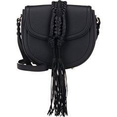 Altuzarra Women's Ghianda Knot Small Saddle Bag ($2,195) ❤ liked on Polyvore featuring bags, handbags, shoulder bags, purses, bolsas, black, genuine leather handbags, leather purses, shoulder strap handbags and man bag