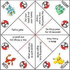 Pokemon Cootie Catchers (AKA paper fortune tellers)