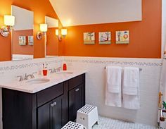 Orange, White U0026 Grey Bath With Dark Vanity, Not Black (too Halloween)