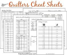 Quilters' cheat shee
