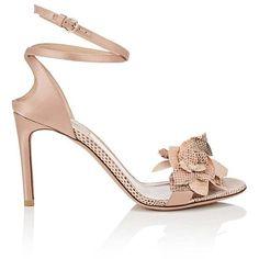 Valentino Garavani Women's Flower-Embellished Satin & Snakeskin... ($1,195) ❤ liked on Polyvore featuring shoes, sandals, snakeskin sandals, ankle wrap sandals, valentino shoes, criss-cross sandals and open toe sandals