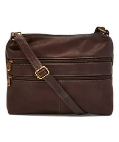 Look at this #zulilyfind! Café Layered Zip Leather Crossbody Bag by Le Donne #zulilyfinds