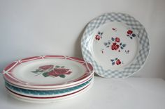 Porcelaine Plates  Set of 6  Digoin by ByLiloudeValois on Etsy