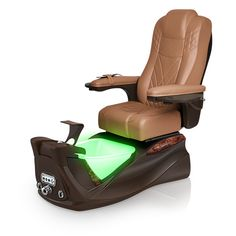 Infinity pedi-spa shown in Cappuccino Ultraleather cushion, Mocha base, Aurora LED Color-Changing bowl (shown in green)