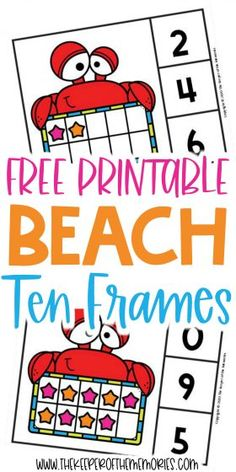 Teach little kids counting, number sense and subitizing with these adorable Free Printable Beach Ten Frame Clip Cards. Download yours today!#preschool #math #beach #seashells #centers #counting #numbers #tenframes Sensory Activities Toddlers, Preschool Themes, Kids Learning Activities, Preschool Printables, Preschool Worksheets, Preschool Activities, Free Printables, Printable Worksheets, Diy Crafts For Kids Easy