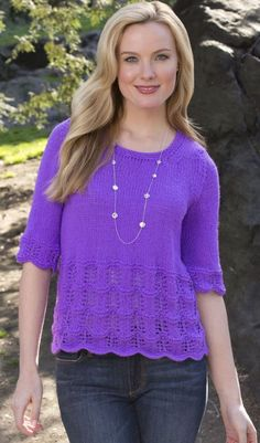 Free knitting pattern easy lace Any Time Top - Melissa Leapman designed this easy lacy short-sleeved top for Red Heart. Sizes Small, Medium, Large, 1X, 2X