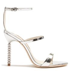 Sophia Webster Rosalind crystal-heel leather sandals (415 CHF) ❤ liked on Polyvore featuring shoes, sandals, silver, special occasion sandals, special occasion shoes, pink leather shoes, pink shoes and leather shoes