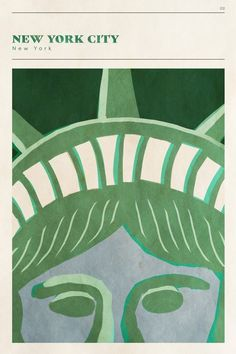 """Modern illustration of a close up of the Statue of Liberty - """"Mid Century City - NYC"""" by Circle Art Group. Room Posters, Poster Wall, Poster Prints, Photo Wall Collage, Picture Wall, Wall Prints, Canvas Prints, Big Canvas, Photowall Ideas"""