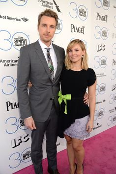 Pin for Later: Celebrity Duos Bring Electric Energy to the Spirit Awards Pink Carpet Dax Shepard and Kristen Bell