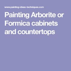 Painting Arborite or Formica cabinets and countertops