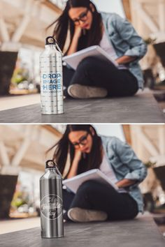 Girl Sitting Down Reading With an Aluminum Water Mockup Bottle Near Her