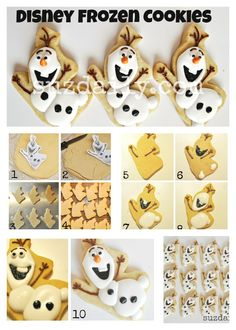 How to Make Disney Frozen Cookies – How to Make Olaf Cookies – Suz Daily Olaf Cookies, Disney Cookies, Galletas Cookies, Iced Cookies, Royal Icing Cookies, Cupcake Cookies, Sugar Cookies, Best Christmas Cookies, Christmas Baking