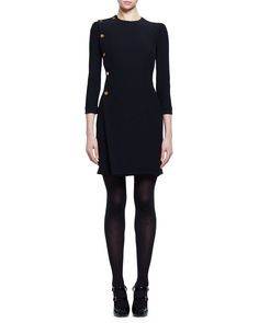 Alexander McQueen 3/4-Sleeve Golden-Button Dress, Black