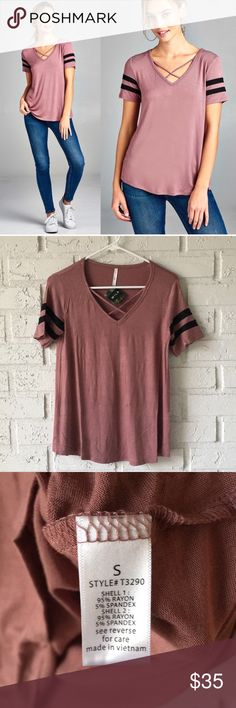 Athletic striped pink short sleeve vneck tee shirt Soft boutique short sleeve tee with cute striped sleeves! Brand new with tags. Small, medium and large available! WILA Tops Tees - Short Sleeve