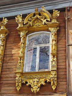 Russian folk art, wooden window frame / shutters. I want a mirror frame like this.