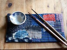 Beautiful  Boro style mat with mixed antique by stitchedIndigo
