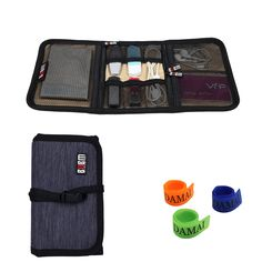 BUBM Portable Universal Wrap Electronics Accessories Travel Organizer / Hard Drive Bag / Cable Stable with Cable Tie (Small-Dark Blue)