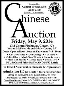 ".The Central Brookhaven Lions Club is a non-profit organization that serves communities in Brookhaven and is involved with programs for area families, students and organizations.To learn more about our Lions Club, visit us on Facebook at www.facebook.com/central.brookhaven.lions. For more information about our Annual Chinese Auction, or about joining the Central Brookhaven Lions Club, please call me at 631-960-1690. CENTRAL BROOKHAVEN LIONS CLUB ""We Serve"" In Brookhaven Township, Long…"