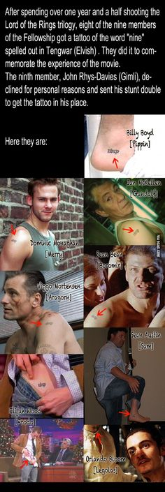 The actors in LOTR matching tattoos...and omg they all either gained weight or aged too much...ecept maybe merry pippin and of course legolas. haha