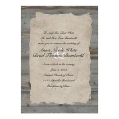Parchment Wood Rustic Country Wedding Invitation #wedding favors, #bridal shower favors, #party favors, #personalized favors, #decorations, #bridesmaids gifts, #bridal party gifts, #wedding supplies, #timelesstreasure