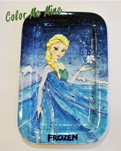 Frozen - Elsa on Oval Plate - Splattering/Carbonless paper/Sponging/Gradation Techniques were used.