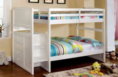 Twin/Twin Bunk Bed Appenzell Collection Cm-Bk922T This multi-functional bunk bed has built-in steps to the top bunk, built-in drawers and is available with a full or twin size lower bunk bed. Bunk Bed Sale For $640