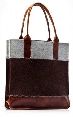NEW Graf & Lantz merino wool felt and leather tote