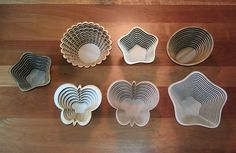 """These are a variety of bowls that I made for teacher appreciation week at my daughters preschool. Most of these are made of birch plywood, but the bottom left butterfly bowl is made from 1/4"""" thick poplar."""