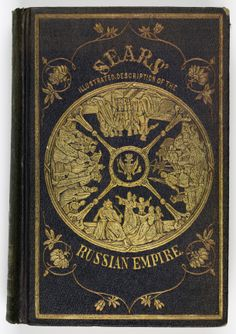 Book cover depicting various groups of people in a wheel of time from Sears' An illustrated description of the Russian empire