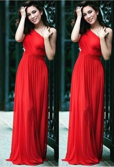 Custom Made Red One- Shoulder Pleated A-Line Prom