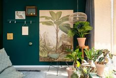 plantenhoek-groene-wand-poster-hout