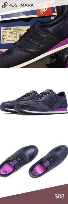 NWT  New Balance 420 Size 7 Women with box! This sneakers are beatiful!  If you want more pics, just ask me!   They are a special edition!  ✅✅✅   With a leather textile upper and distinctive femenine color pops, the New Balance Glam 420 adds shiny throwback style when you're looking for that extra touch to finish off fancy.  Leather/textile upper Color: Violet and purple New Balance Shoes Sneakers