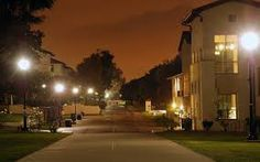 A telephoto view of Occidental College's campus center at night. College Campus, Occidental College, Los Angeles California, Quad, Places Ive Been, Madrid, Most Beautiful, Ocean, Fotografia