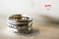 Stackable engraved mothers rings