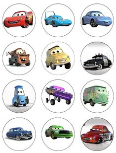 CARS Edible Cupcake Toppers 12 Disney Pixar Cars edible images for cupcakes, cookies, cake, brownies made from wafer paper. $6.00, via Etsy.