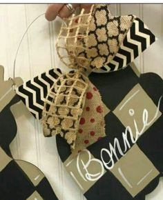 Gorgeous Bow / wooden door hanger / Chevron / Red Polka-dot / Craft Night Out located in Historic Downtown Statesville