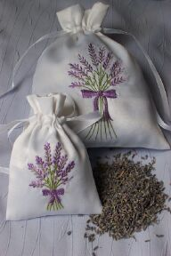Lavender repels clothing moths. I love these embroidered lavender sachet bags that can be tucked in with stored clothing or hung on a hanger with that wool coat.