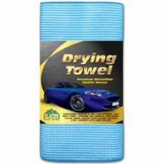 This excellent Drying Towel is made from Microfiber Waffle Weave cloth.  It will hold up to 10 times its own weight in water.  Check out my LIST of Microfiber  Waffle Weave Drying Towels.